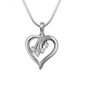 Surat Diamond Magical Memories - Real Diamond & Sterling Silver Pendant With 18 Inch Chain
