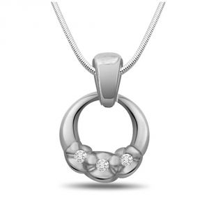rcpc,kalazone,jpearls,surat diamonds Silvery Jewellery - Surat Diamond Ocean Of Love - Real Diamond & Sterling Silver Pendant with 18 IN Chain SDP149