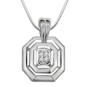 Surat Diamond Sent From Heaven - Real Diamond & Sterling Silver Pendant With 18 Inch Chain