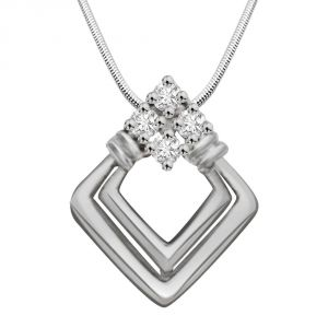Surat Diamond Precious Blessing - Real Diamond & Sterling Silver Pendant With 18 Inch Chain