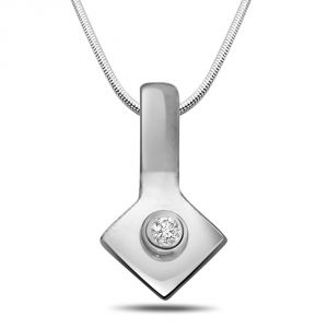 Surat Diamond Pretty Little - Real Diamond & Sterling Silver Pendant With 18 Inch Chain