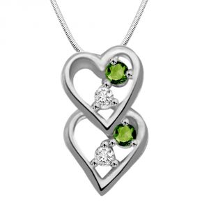 Surat Diamond Lifetime Of Love - Real Diamond Green Emerald & Silver Pendant With 18 Chain