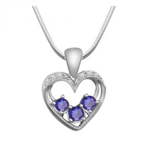 jagdamba,flora,vipul,surat diamonds,Avsar Silvery Jewellery - Surat Diamond Kind Hearted- Real Diamond, Sapphire & Sterling Silver Pendant with 18 IN Chain SDP176