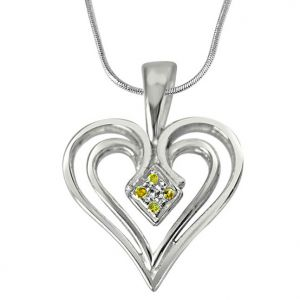 rcpc,avsar,soie,Surat Diamonds Silvery Jewellery - Surat Diamond Dual Heart - Real Diamond & Sterling Silver Pendant with Silver Finished 18 IN Chain SDP185