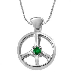 Surat Diamonds Silver Pendant Sets - Surat Diamond Emerald Wheel - Real Emerald & Sterling Silver Pendant with Silver Finished 18 IN Chain SDP233