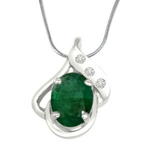 Avsar,Ag,Lime,Jagdamba,Sleeping Story,Surat Diamonds,Triveni,Tng Women's Clothing - Surat Diamond Sweet Connections Real Diamond, Green Emerald & Sterling Silver Pendant with 18 IN Chain SDP235