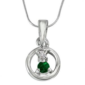Surat Diamond Delicate Life - Real Diamond & Green Emerald Pendant In Sterling Silver With Silver Finished 18 In Chain Sdp236