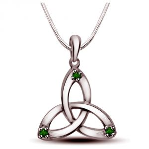 Surat Diamond Sweet Triangle - Real Emerald Pendant In Sterling Silver With Silver Finished 18 In Chain Sdp239