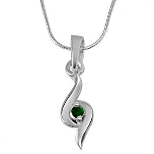 rcpc,kalazone,jpearls,surat diamonds Silvery Jewellery - Surat Diamond Hold Me Tight - Real Emerald Pendant in Sterling Silver with Silver Finished 18 IN Chain SDP240