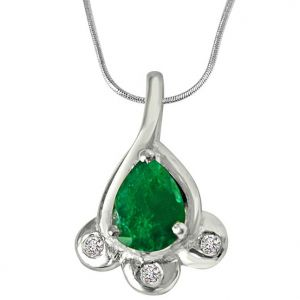 rcpc,kalazone,jpearls,surat diamonds Silvery Jewellery - Surat Diamond Green Bud - Real Diamond & Green Emerald Pendant in Sterling Silver with Silver Finished 18 IN Chain SDP245