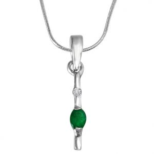 Surat Diamond Green Stick - Real Diamond & Green Emerald Pendant In Sterling Silver With Silver Finished 18 In Chain Sdp247