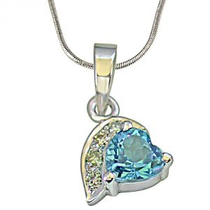 Surat Diamond Heart Shaped Swiss Blue Topaz & 4 Big Real Diamond 925 Silver Pendant