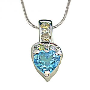 Surat Diamond 4 Diamonds Set With Heart Shape Swiss Blue Topaz 925 Silver Pendant