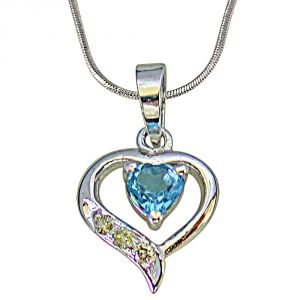 Surat Diamond 3 Round Diamond Set In 925 Heart Shape Silver With Heart Blue Topaz Centre Pendant