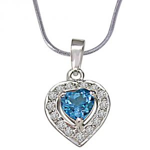 Silver Pendant Sets - Surat Diamond Heart Shaped Blue Topaz & Real Diamond Pendant With 18 IN Chain SDP258