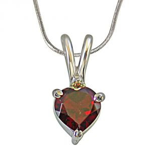 Surat Diamond Diamond & Heart Shape Garnet In 925 Silver Pendant For Your Love