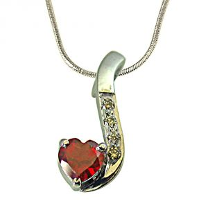 Surat Diamond Diamond & Heart Shape Garnet Set In Very Engaging Manner In 925 Silver Pendant