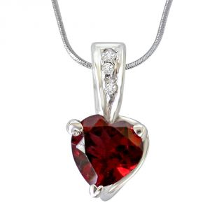 Surat Diamond Big Heart Shaped Red Garnet & Real Diamond Pendant With 18 In Chain Sdp265