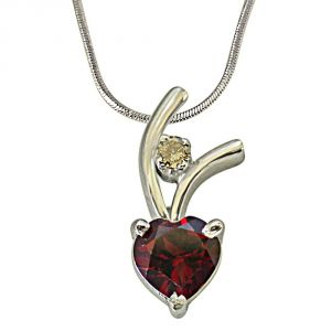 Surat Diamond Very Chic Diamond & Heart Shaped 925 Silver Pendant With 18 Inchchain
