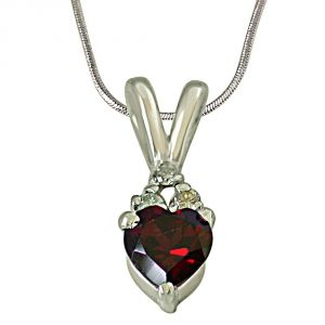 Surat Diamond 3 Diamond Set On Top Of Heart Shape Garnet 925 Silver Pendant With 18 Inch Chain