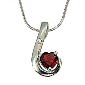 Surat Diamond Lovy Dovy Heart Shape Garnet And Diamond 925 Silver Pendant With 18 Inch Chain