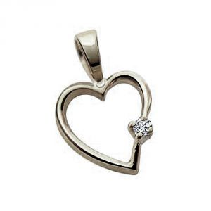 Surat Diamond - Simple Heart Sterling Silver Pendant -sdp27