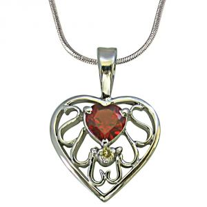Surat Diamond Diamond & Heart Garnet Set In Heart N Heart 925 Silver Pendant With 18 Inch Chain