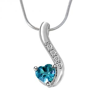 Surat Diamond Heart Shaped Blue Topaz & Real Diamond Silver Pendant With 18 Inch Chain