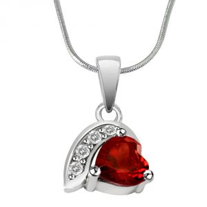 Surat Diamond Heart Shaped Red Garnet & Real Diamond Silver Pendant With 18 Inch Chain