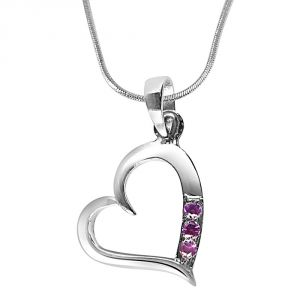"Surat Diamond Simple Way To My Heart Rhodolite And Sterling Silver Pendant With 18"" Chain Sdp278"