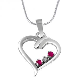 Surat Diamond Magical Memories Real Diamond, Red Ruby & Sterling Silver Pendant With 18 In Chain Sdp283