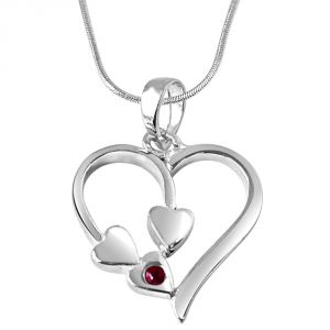 "Surat Diamond Together Forever Red Ruby & Sterling Silver Pendant With 18"" Chain Sdp284"