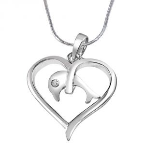 triveni,pick pocket,flora,jpearls,surat diamonds,bagforever Silvery Jewellery - Surat Diamond Dolphin in my Heart Real Diamond & Sterling Silver Pendant with 18 IN Chain SDP285