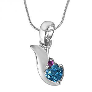 Surat Diamond Bless Our Love Blue Topaz, Red Ruby & Sterling Silver Pendant With 18 In Chain Sdp288