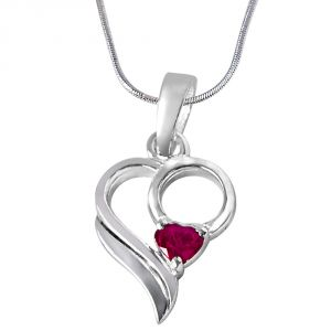 rcpc,kalazone,jpearls,surat diamonds,Ag Silvery Jewellery - Surat Diamond Love Treasure Red Heart Ruby & Sterling Silver Pendant with 18 IN Chain SDP290