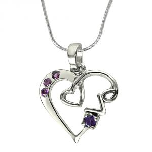 "Surat Diamond Loads Of Love Purple Amethyst, Pink Rhodolite & Sterling Silver Pendant With 18"" Chain Sdp291"