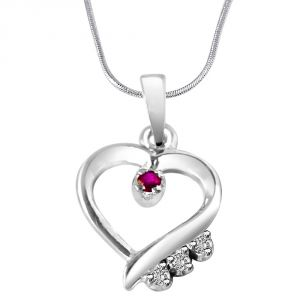 Surat Diamond Angels Watch Over You?? Real Diamond & Red Ruby Set In Sterling Silver Pendant With 18 In Chain Sdp298