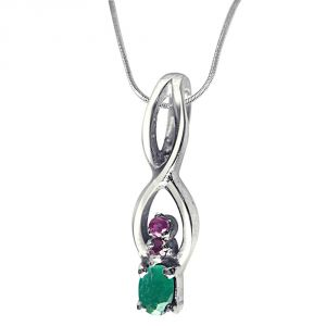 Surat Diamond Back To Nature Red Ruby, Green Emerald & Sterling Silver Pendant With 18 Inch Chain