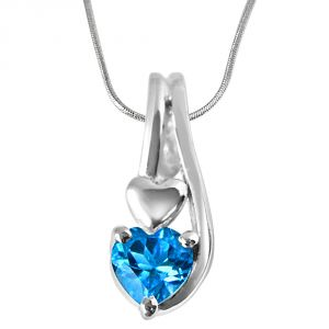 Surat Diamond Ocean Wonders Heart Shaped Blue Topaz Set In Sterling Silver Pendant With 18 In Chain Sdp301