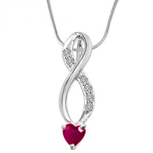 Surat Diamond Building Of Memories Real Diamond, Red Ruby & Sterling Silver Pendant With 18 In Chain Sdp305