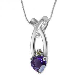 Surat Diamonds Silver Pendant Sets - Surat Diamond Fashion Frenzy Real Diamond, Purple Amethyst & Sterling Silver Pendant with 18 IN Chain SDP306