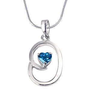 Surat Diamond Bless Our Nest Heart Shaped Blue Topaz & Sterling Silver Pendant With 18 In Chain Sdp309