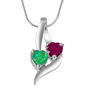 jagdamba,surat diamonds,valentine,jharjhar,asmi,tng Silvery Jewellery - Surat Diamond Time To Remember Green Emerald, Red Ruby & Sterling Silver Pendant with 18 IN Chain SDP310