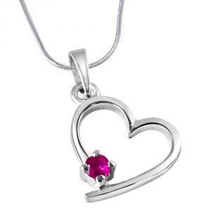 Surat Diamonds Silver Pendant Sets - Surat Diamond Believe In Miracles Red Ruby & Sterling Silver Pendant with 18 IN Chain SDP312