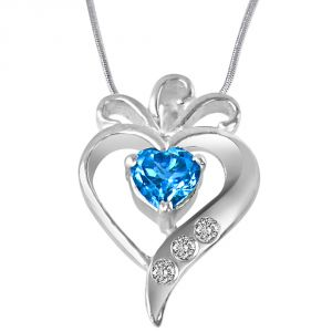 Surat Diamond Sweet Mystery Of Life Real Diamond, Blue Topaz & Sterling Silver Pendant With 18 In Chain Sdp316