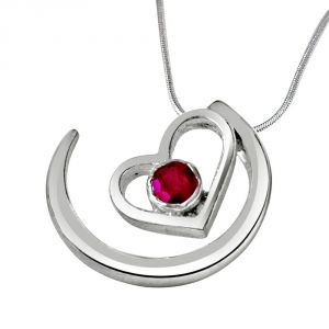 "Surat Diamond Priceless Moments Red Ruby & Sterling Silver Pendant With 18"" Chain Sdp318"