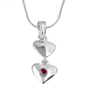Surat Diamond Magical Moments Red Ruby & Sterling Silver Pendant With 18 In Chain Sdp319