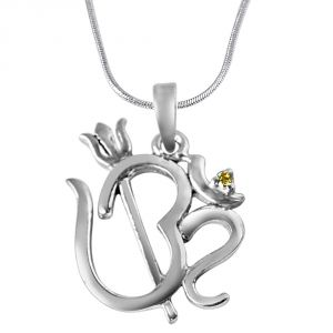 lime,surat tex,soie,surat diamonds,flora,la intimo Silvery Jewellery - Surat Diamond Om with Trishul Real Diamond & Sterling Silver Pendant with 18 IN Chain SDP320