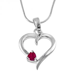 lime,surat tex,soie,surat diamonds,flora,la intimo Silvery Jewellery - Surat Diamond Another World Red Ruby & Sterling Silver Pendant with 18 IN Chain SDP324