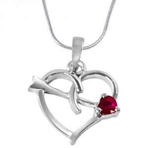 jagdamba,kalazone,flora,vipul,surat diamonds Silvery Jewellery - Surat Diamond Forever Young Red Ruby & Sterling Silver Pendant with 18 IN Chain SDP325